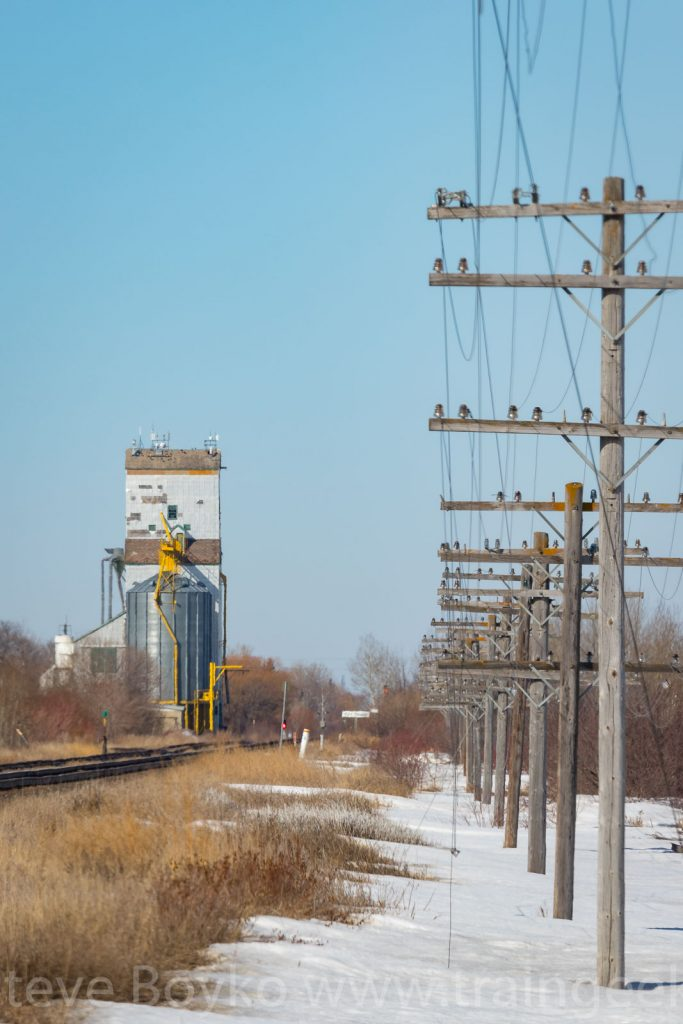 Telegraph poles and the Dugald grain elevator