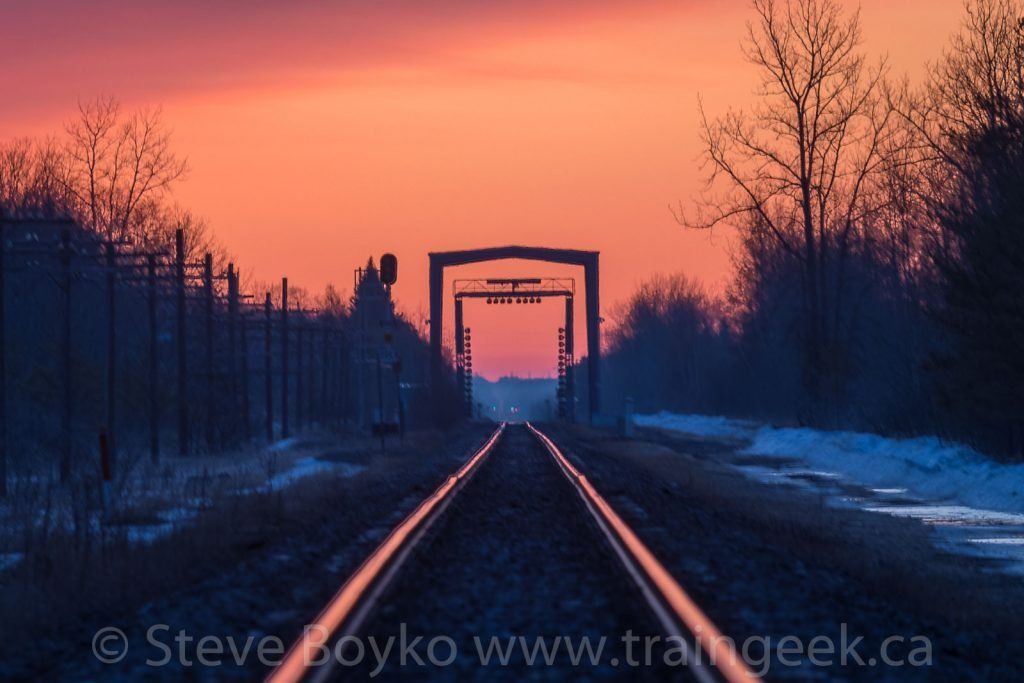 Rail inspection portal at Vivian, Manitoba at sunrise