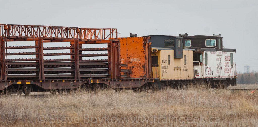 Rail train with two cabooses