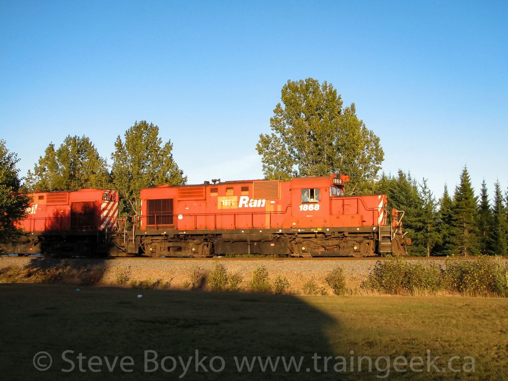 NBEC 1868 and 1821 leading the ore train near Bathurst, September 13 2007.