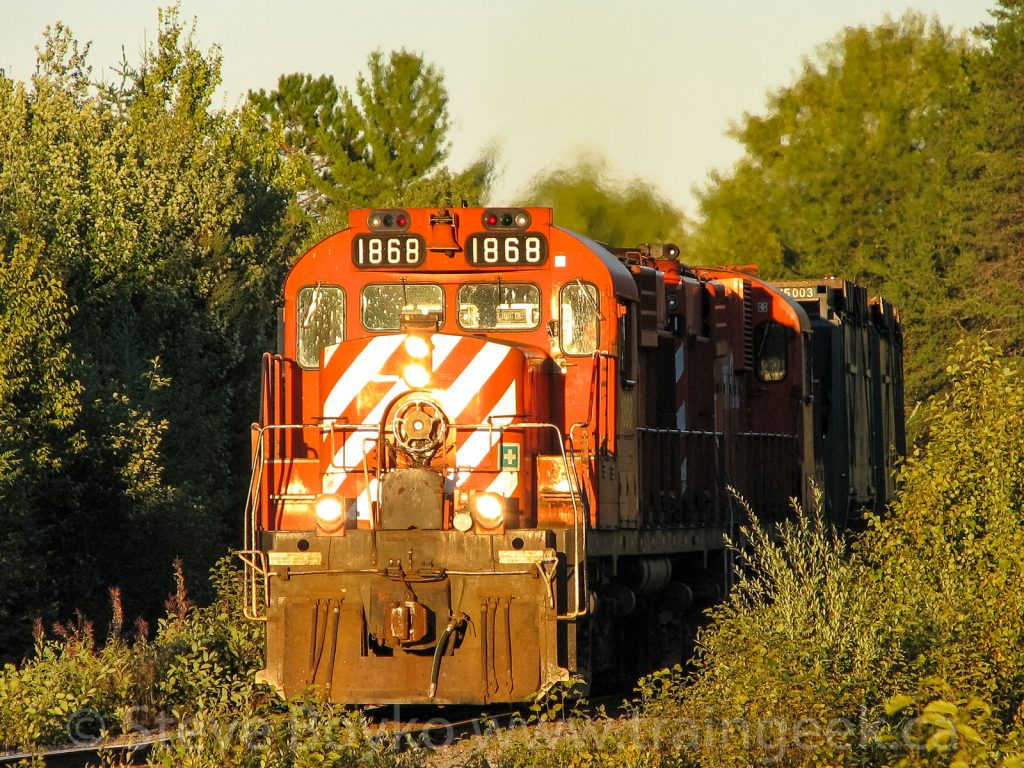 NBEC 1868 leading the ore train on the Nepisiguit Subdivision, September 13 2007