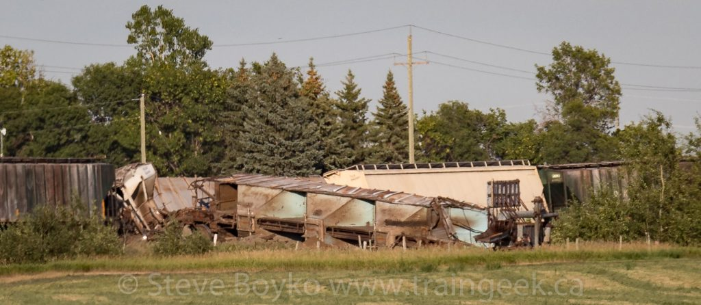 Derailed potash cars outside Winnipeg