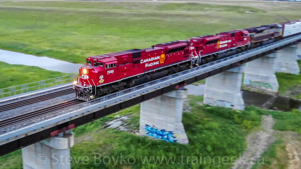 CP 7030 leads the train