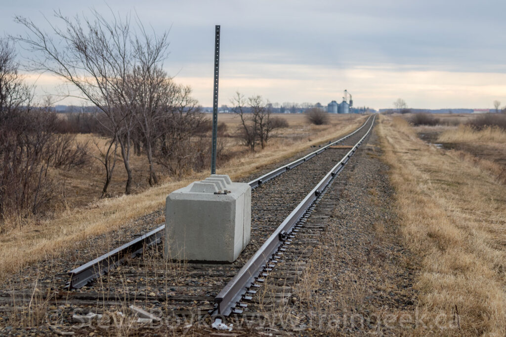 End of track for the east section of the Glenboro sub