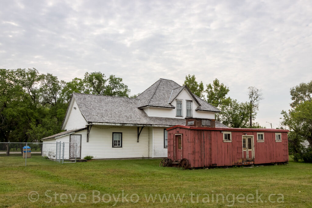 Bunk car and train station in Fisher Branch, MB
