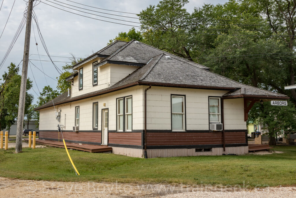 The former train station in Arborg, Manitoba, August 2020.