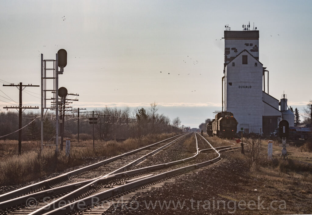 End on view of rail grinder in Dugald, Manitoba