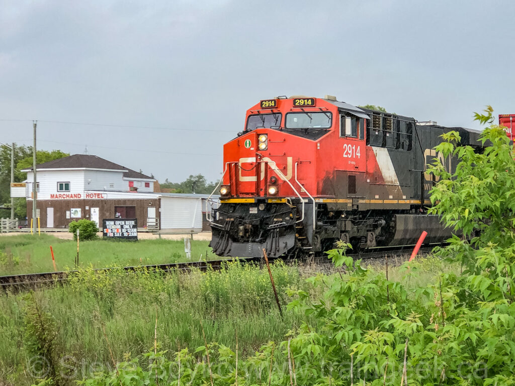 A CN train passing through Marchand, Manitoba