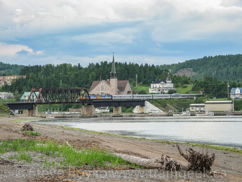 The westbound train through Port Daniel, Quebec
