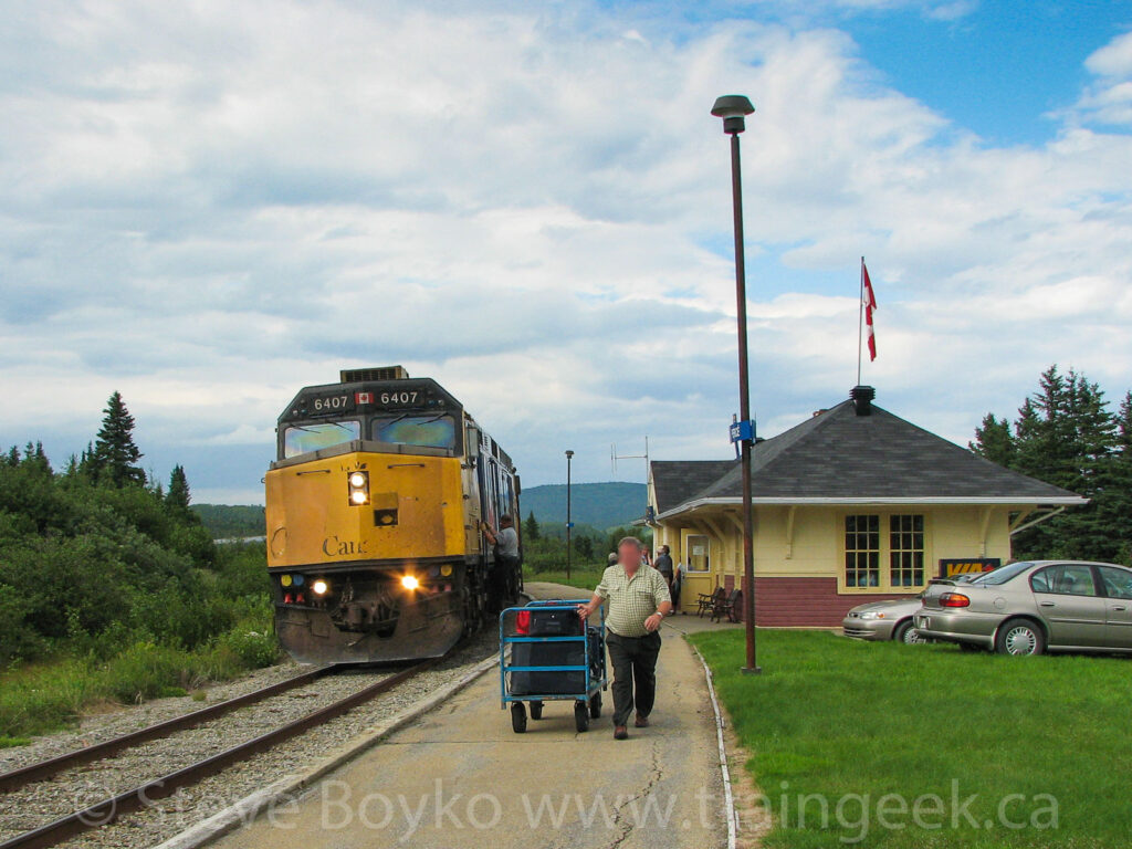 The VIA Rail train at Percé
