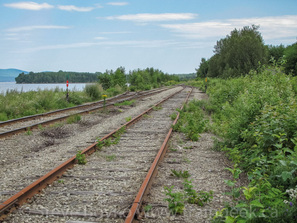 Looking railway west in Gaspé