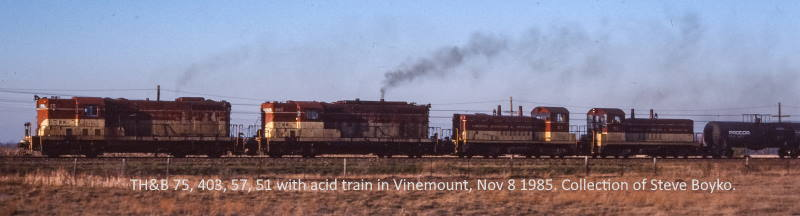 TH&B 75, 403, 57 and 51 in Vinemount. Photographer unknown. Slide from my collection.