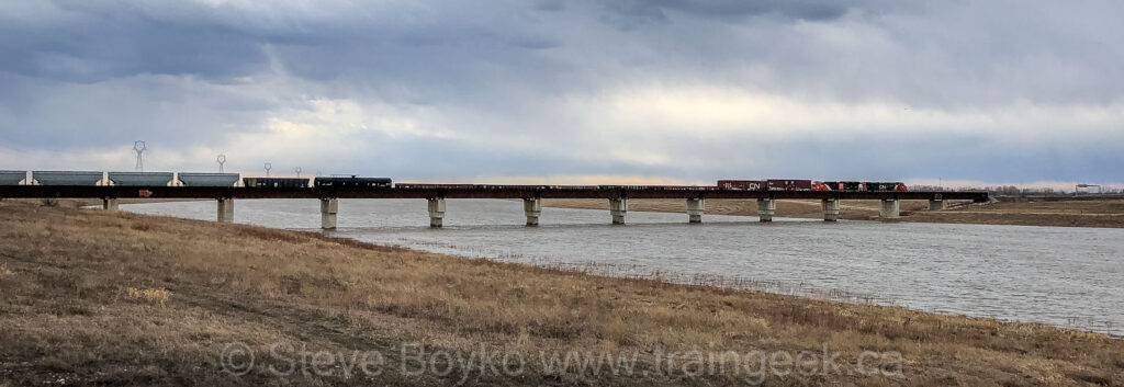 CN Sprague sub bridge over Floodway, April 2020