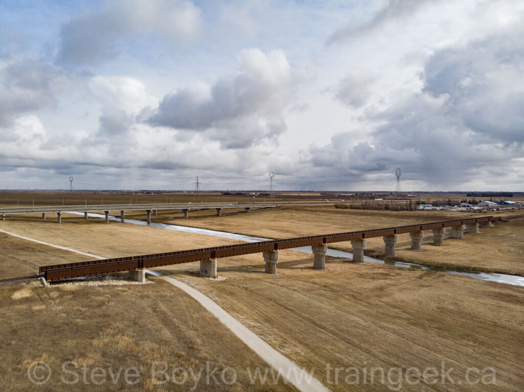 The CN bridge over the Floodway