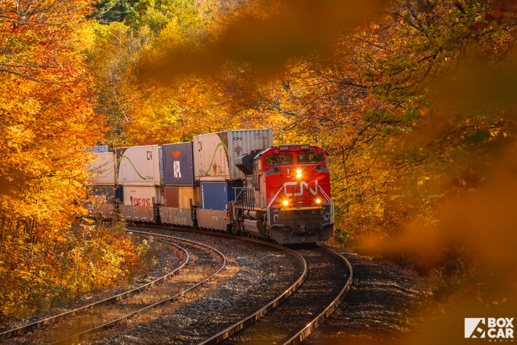 CN train 183 at Dock Siding, Parry Sound. Copyright by Ryan Gaynor.