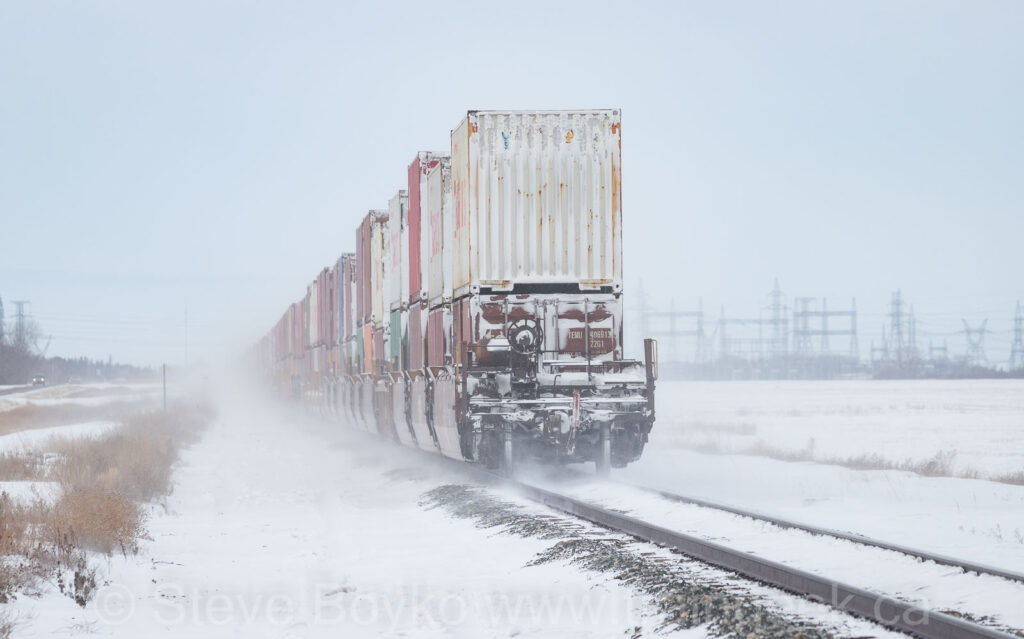Blowing snow and containers
