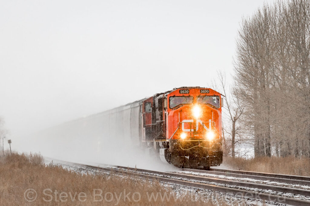 CN 5630 kicking up some snow