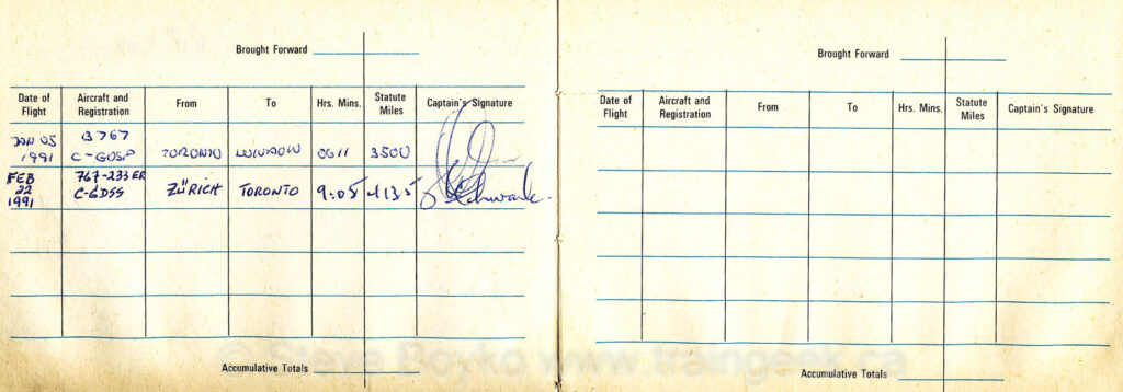 Pages 3 and 4 of my Junior Jet Club logbook