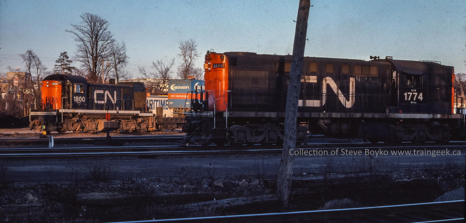 CN 1800 and 1774 in Halifax 1976/03/26, Photographer Unknown
