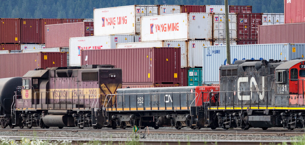 Ex NAR GP9 - now CN 252 - in Prince George, BC in 2014