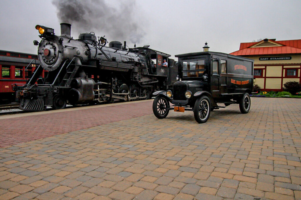 Two classics on the Strasburg Railroad featuring Strasburg 90 at the end of the day. Photo by Ian Cole.