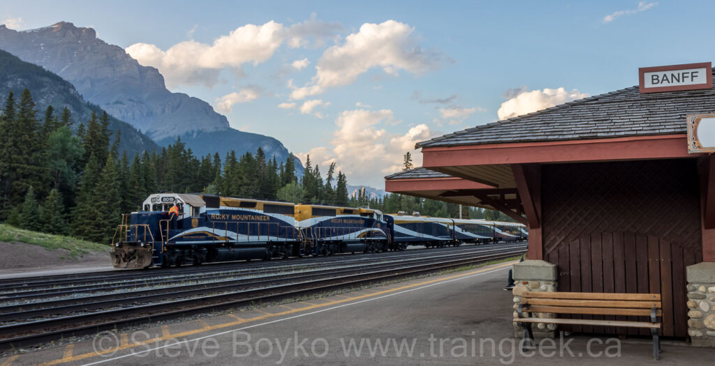 The Rocky Mountaineer at rest in Banff