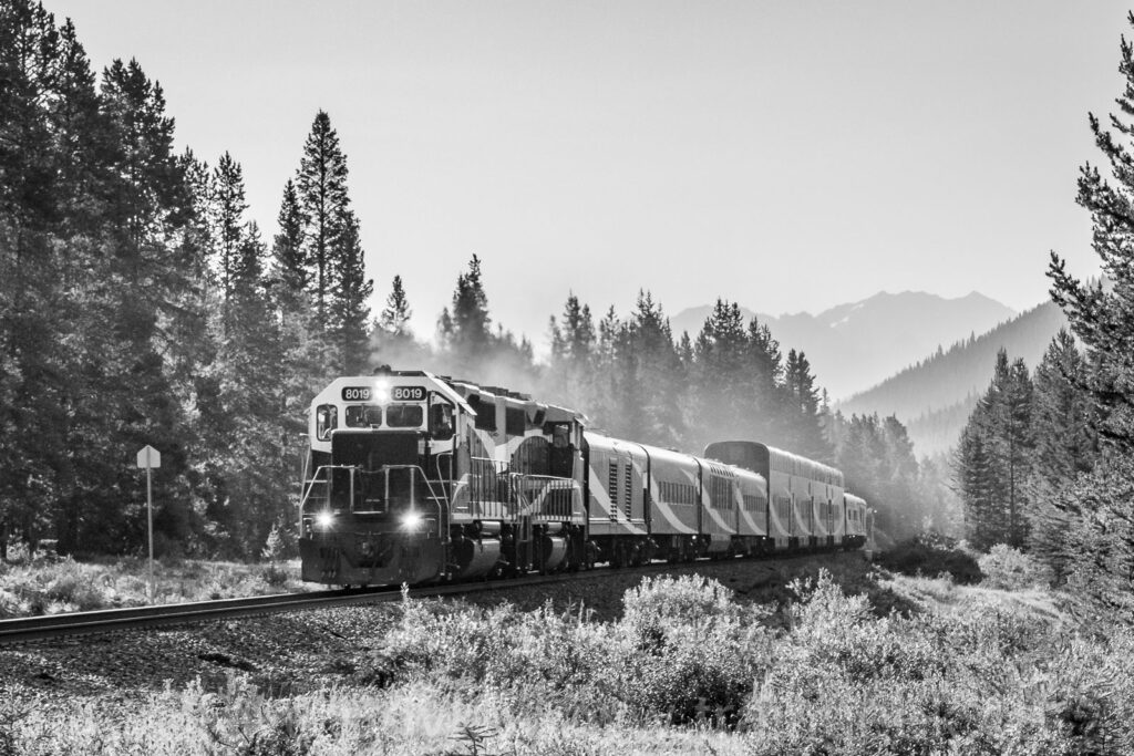 The Rocky Mountaineer on the move