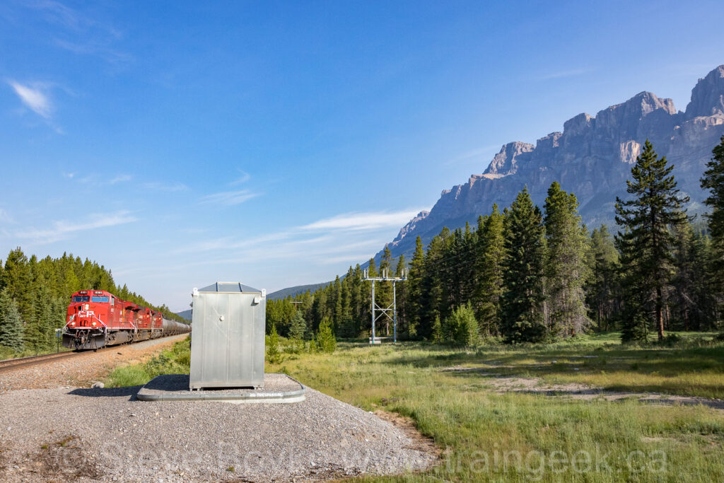 CP 8161 passing Castle Mountain in Banff National Park