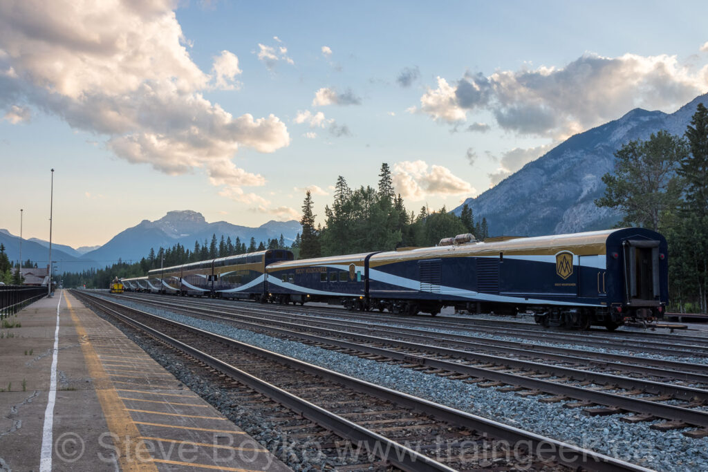 The Rocky Mountaineer at sunset in Banff
